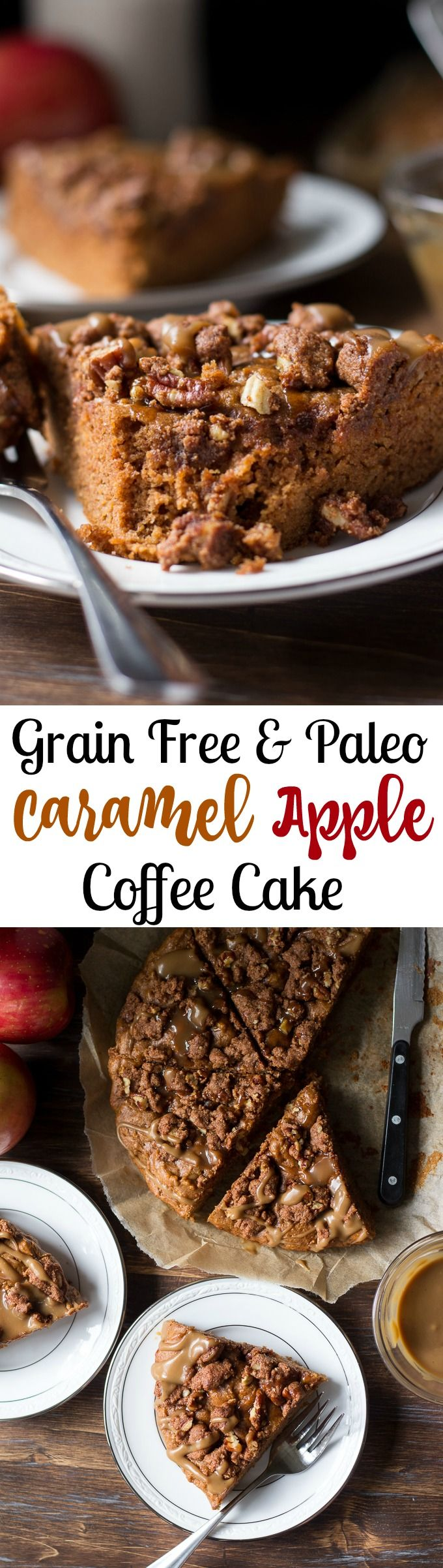 Paleo Caramel Apple Coffee Cake - grain free dairy free yet decadent Paleo coffee cake with cinnamon crumb topping and rich caramel sauce drizzled over the top.