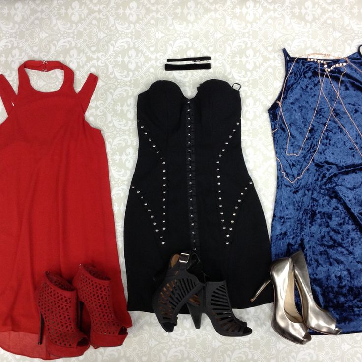 Wowza! That's honestly all we can say about these #amaze dresses. #gentlyused #PlatosClosetBarrie // red #CityStudio dress, Size XS, $12 // #WildDiva shoes, Size 6.5, $10 // choker, $3 // #Guess dress, Size XS, $22 // #D shoes, Size 6, $14 // #AnotherStory dress, Size L, $12 // body chain #LAExpress, $3 // #Aldo shoes, Size 7.5, $20 // | www.platosclosetbarrie.com