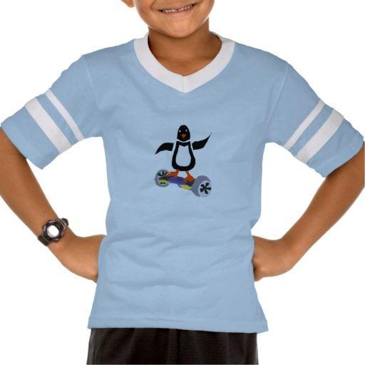 Funny Penguin on Motorized Skateboard Art Shirt