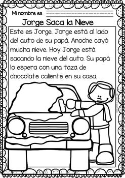 Easy Reading for Reading Comprehension in Spanish - Snow Day