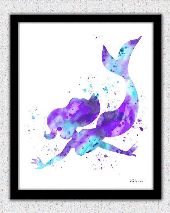 Aqua Lavender Mermaid art print, Ariel print, Purple Mermaid, Disney Ariel, Little Mermaid, Nursery Decor, Little Mermaid, Mermaid Print