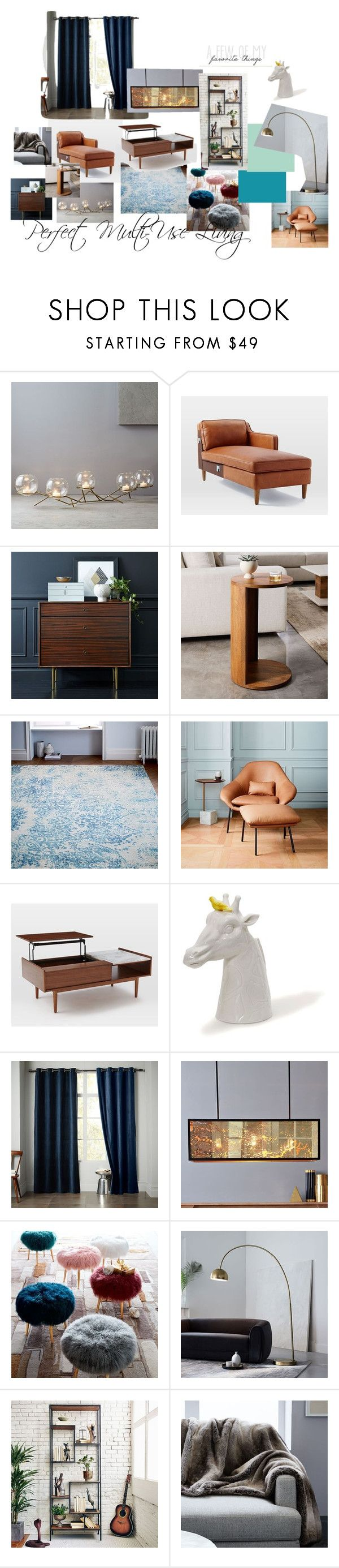 """Dream Living Area with West Elm"" by anyamarco on Polyvore featuring interior, interiors, interior design, home, home decor, interior decorating, West Elm, living room and dreamwestelm"