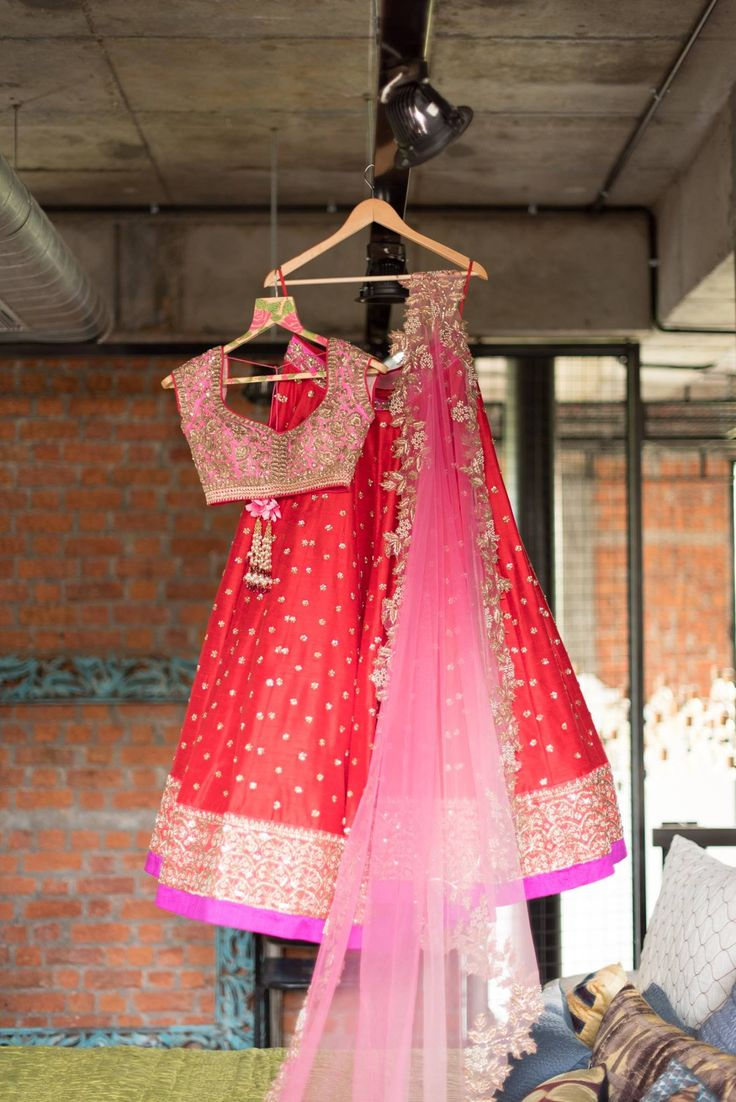 Anushree Reddy Bright Red Embroidered #Lehenga With Pink Embroidered #Blouse & Dupatta.