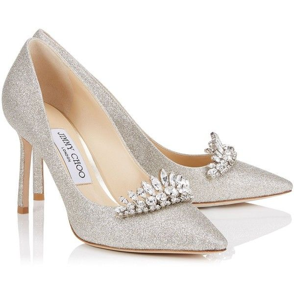Platinum Ice Dusty Glitter Pointy Toe Pumps with Crystal Tiara ROMY 85 (13.152.705 IDR) ❤ liked on Polyvore featuring shoes, pumps, heels, zapatos, crystal shoes, crystal heel shoes, pointy-toe pumps, pointed toe shoes and glitter heel shoes
