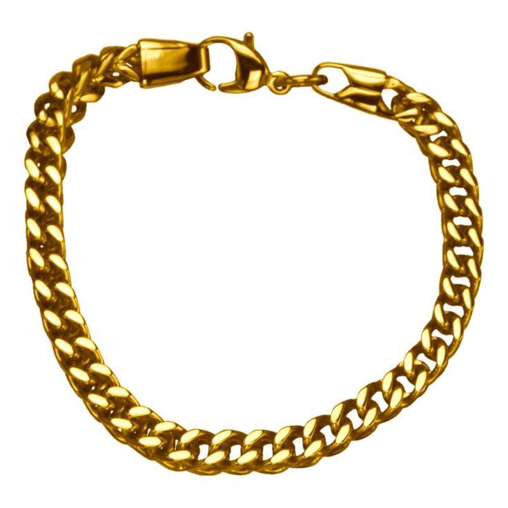 Inox 316L Steel Gold IP 8.5 Inch Franco Chain Link Bracelet