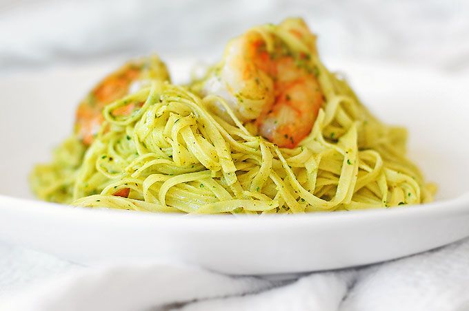 This easy Shrimp Pasta with Cilantro Pesto Recipe is a winner for a simple weeknight meal or a special occasion celebration with friends.