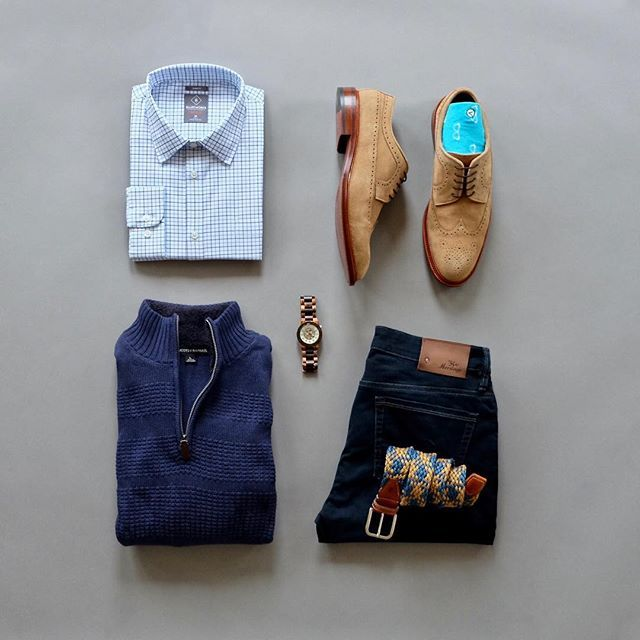 Keeping things nice and simple today. To keep em on the toes I pop a little color with some fun socks. I'm call call this look 'Stan'.................................... Shirt: @bluffworks Sweater: @tricots_st_raphael Watch: @jordwatches Socks: @vybesocks Suede Wingtips: @crosbysquare Denim: @34heritage Woven Belt: @martindingman +++++++++++++++++++++++++++++++++++++++++++++++++++++++++++++++++++++++++++++++++++++++++++++++++++++++++++++++++++++++++++++++++++++++++++++++++++++++++++++...