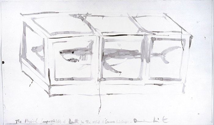 DAMIEN HIRST  Untitled (The Physical Impossibility of Death in the Mind of Someone Living), 1991  Watercolor on paper  18 x 30 1/2 inches (45.7 x 77.4 cm)