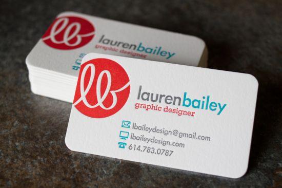 Lauren Bailey Red Aqua Business Card 550x366 Business Card Ideas and Inspiration #8