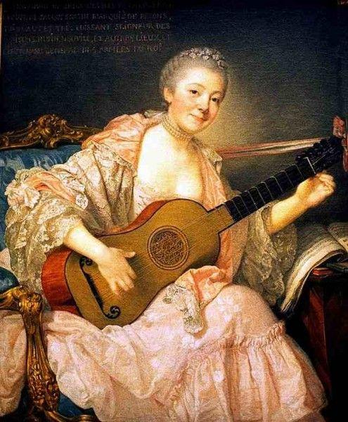 Jean-Baptiste Greuze, Ann Marie Bezin with Guitar (1758)