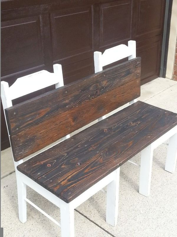 repurposed recreated bench, outdoor furniture