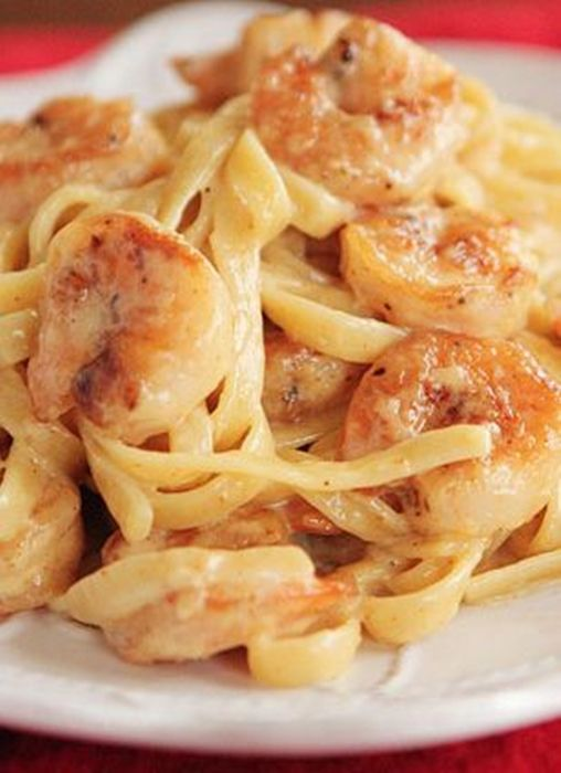Crispy Shrimp Pasta. Could use Old Bay instead of #cajun seasoning. TIP: sprinkle some shredded parmesan cheese on top just before serving.