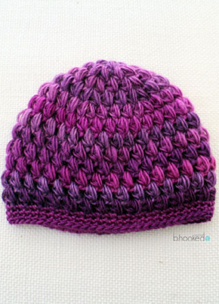 Crochet Puff Stitch Hat: Infant and Toddler Sizes