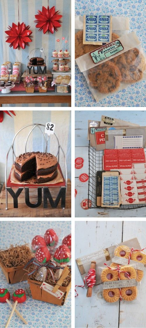 Love this vintage bake sale idea for selling at the Farmers Market....it's all in the packaging. I like the cookies sold in a package of 2.