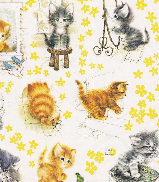 Vintage Gift Wrap Fluffy Kittens by hmdavid, via Flickr