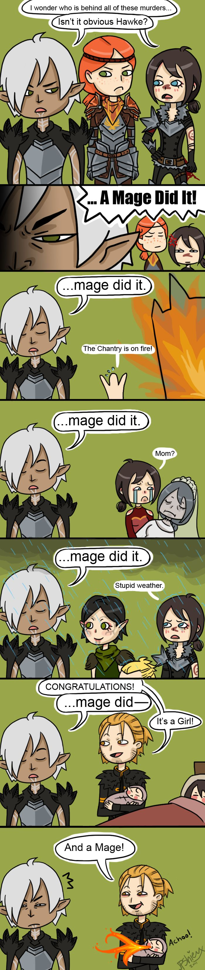 """Mage did it"" Oh Fenris.. haha Dragon Age humor"