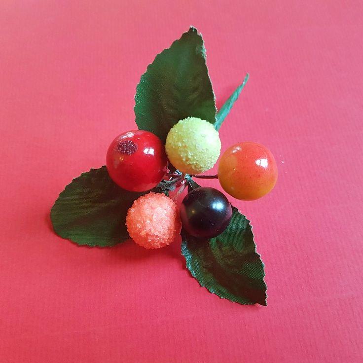 Fruit Spray vintage brooch