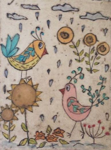 Made 4 You Oh Dear its Raining Again Print of original collagraph & watercolour