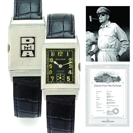 Jaeger LeCoultre Ref. 201 Early Steel Reverso retailed by GolayFils & Stahl that formerly belonged to General Douglas MacArthur.