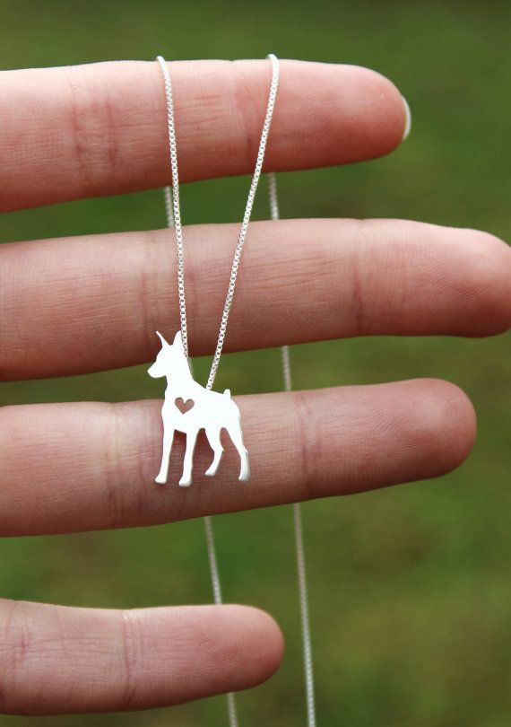 Doberman Pinscher necklace sterling silver hand by JustPlainSimple