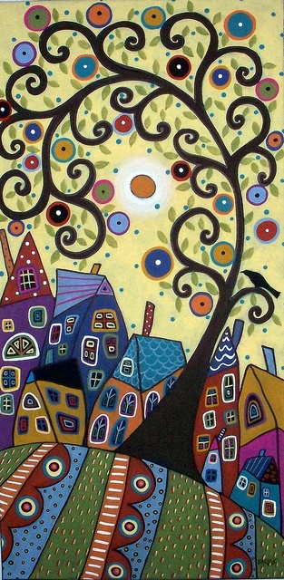 Swirl Tree & Houses by karlagerard, via Flickr