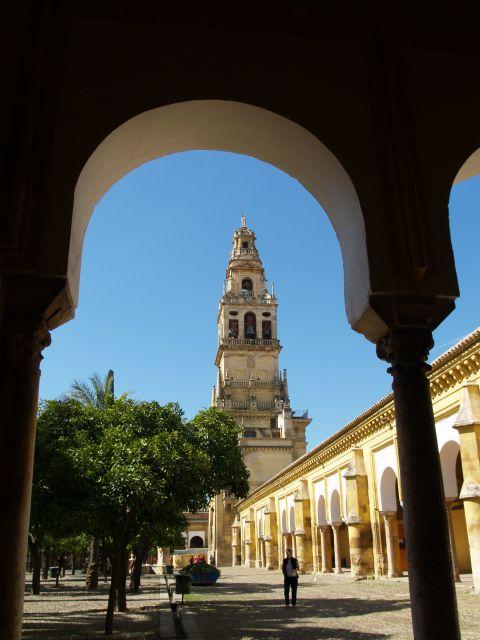 Torre-campanario de la Mezquita Catedral de Córdoba desde el Patio de los Naranjos