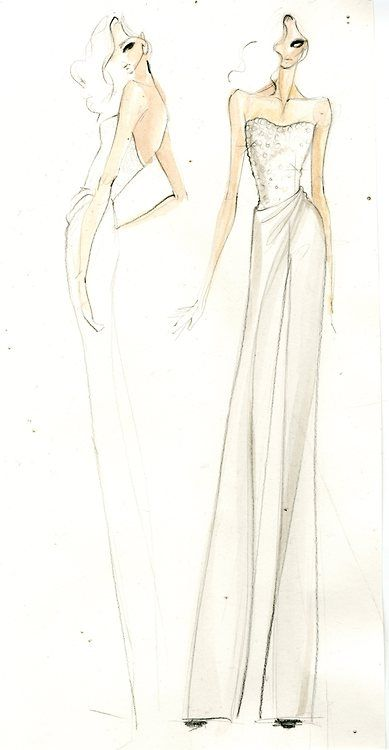 The inspiration behind Morena Baccarin's #DonnaKaranAtelier jumpsuit..love this sketch..