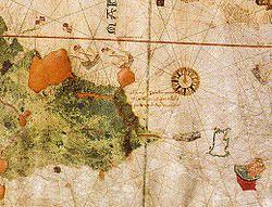 El mapa mostra la costa sud-americana adornada amb banderes castellanes des del cap de la Vela (a l'actual Colòmbia) fins a l'extrem oriental del continent