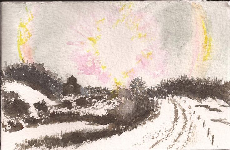 Original watercolour by Faye Blondin Runnymead Saskatchewan sun dogs