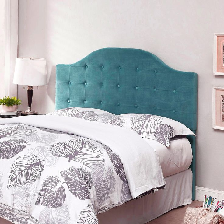 This transitional headboard features a soft arch design and allover tufting to create a stunning statement in your bedroom. The bold sollid fabric makes this piece a bright addition to your existing space. The unique design will work with both a full size or queen size bed frame.   This headboard attaches to a standard frame using your existing hardware (frame and hardware not included).    Create an instant room update by adding this stunning headboard to your bedroom.