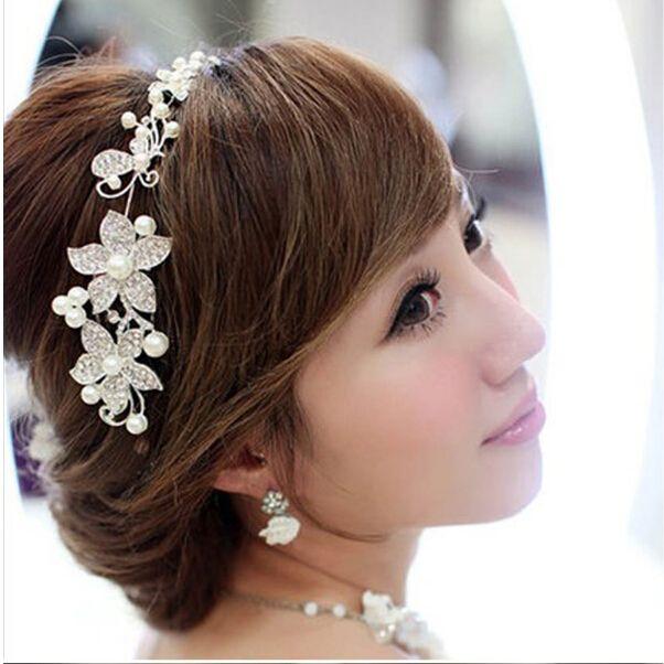 2016 Hot Fashion Women Lady Rhinestone Bridal Wedding Flower Pearls Headband Hair Clip Comb Party Jewelry