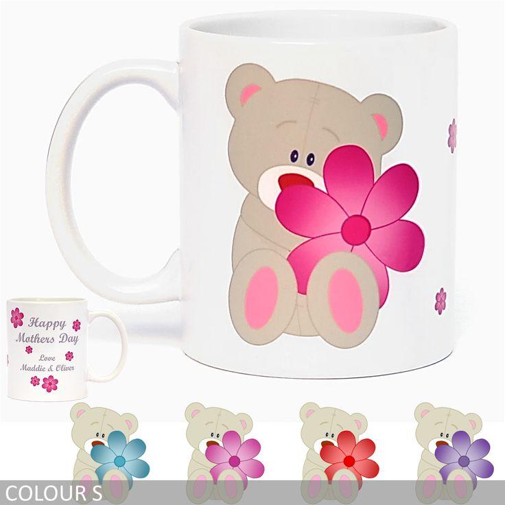 Personalised Teddy Bear with Flowers Coffee Mug