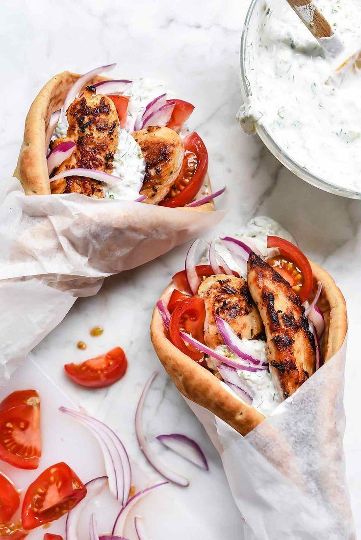 Easy Chicken Gyros with Tzatziki Sauce | foodiecrush.com