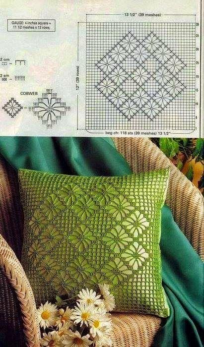 Hermoso almohadón al crochet / patrones | Crochet y Dos agujas
