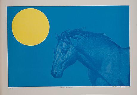 Risto Suomi: Sininen hevonen, 2008, 38,5x57,5 cm, edition 45/100, Mannerheim-grafiikkakansio  - Bukowskis Market 1/2015