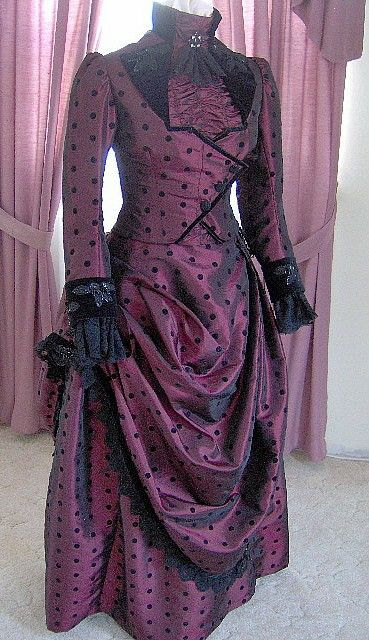 FOR ORDERS ONLY 1800s Victorian Dress 1887 Bustle Gown 1880s Gothic Sass Old Wild West Skirt Bodice. $575.00, via Etsy.