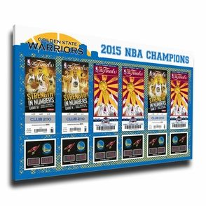 Golden State Warriors 2015 NBA Finals Tickets to History Canvas Print