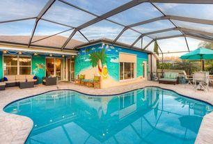 Transitional Swimming Pool with Indoor pool, Trellis, Skylight, exterior brick floors