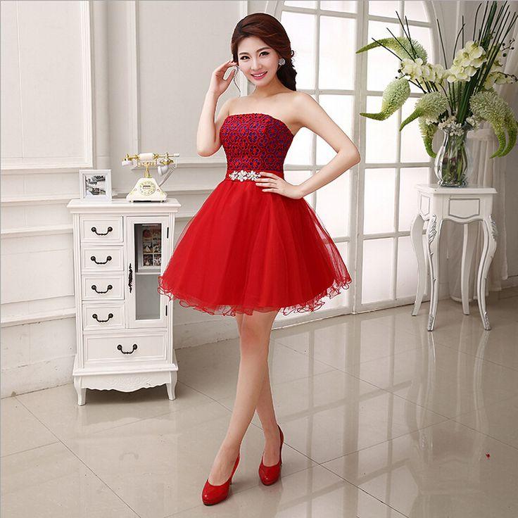 Купить товарВечерние платья 2015 платье тост невеста красный короткие платья кружева wd0052 в категории Вечерние платьяна AliExpress.