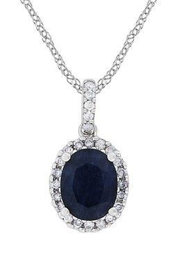 HauteLook | Birthstone of the Month: Sapphire: 14K White Gold Oval Diffused Sapphire & Diamond Halo Pendant Necklace