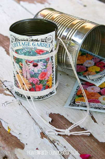 Upcycle cans into May Day baskets.