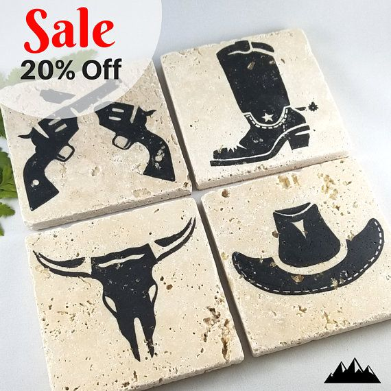 Country Western Coasters Set Of 4 Etsy In 2021 Coasters Etsy Texas Theme