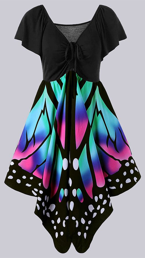 Plus Size Empire Waist Butterfly Print Dress