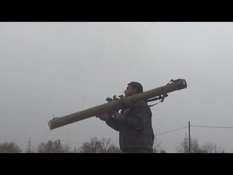 """Syrian rebels using RPG-29 """"Vampire"""" against the tank in the environs of..."""