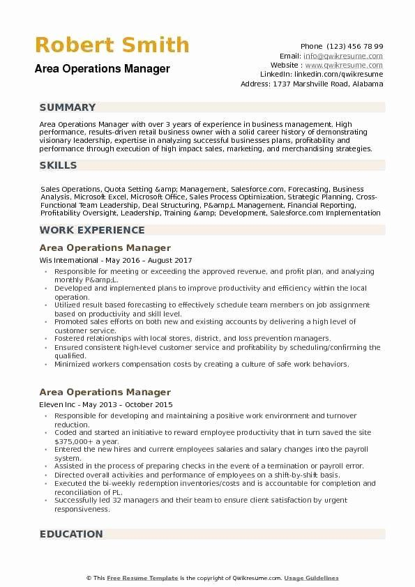 Operations Manager Resume Sample Pdf New Area Operations Manager Resume Samples Resume Words Operations Management Manager Resume