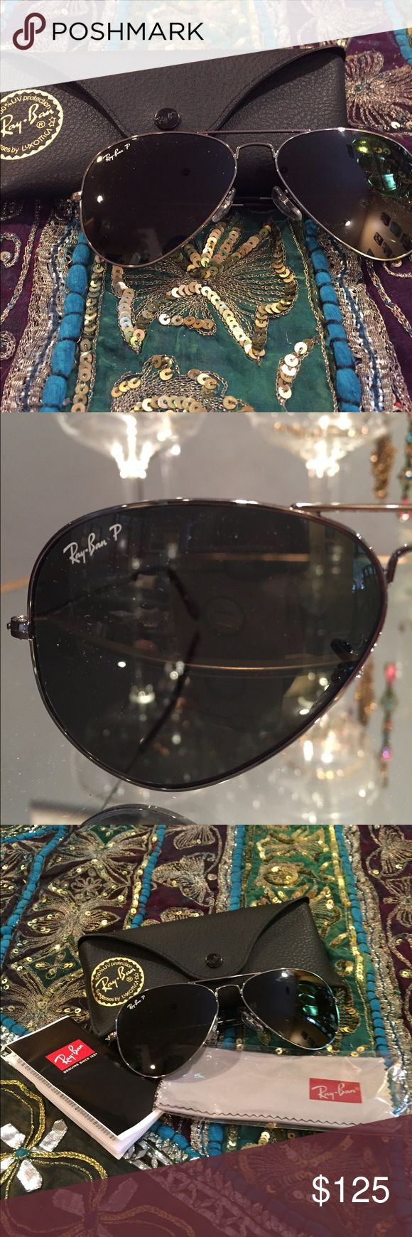 Brand New Ray Ban 3025 Polarized Aviators Large. Brand new! Bought in early summer but never worn and lost receipt. Authentic! RB 3025. Aviator Large Metal. 004/58. 58Q14. 3P. Made in Italy. Gunmetal frames. Ray-Ban Accessories Sunglasses