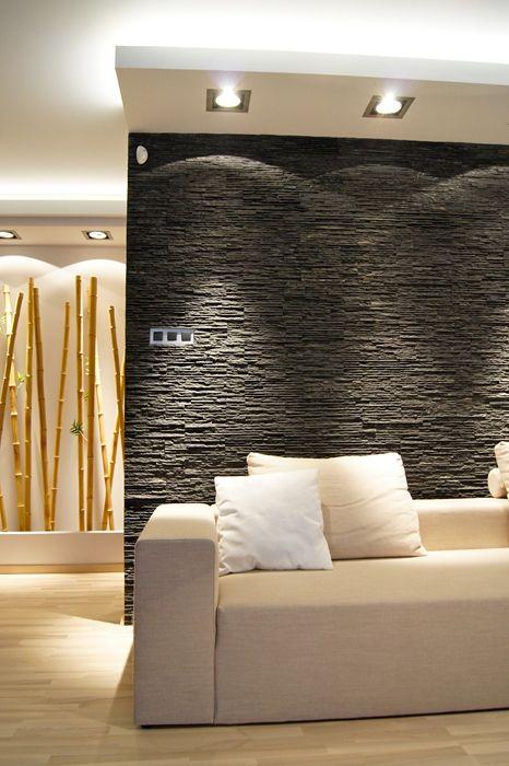 Sofa, kamień, bambus