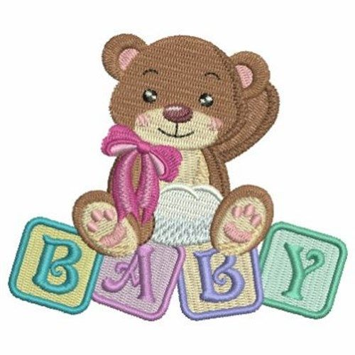 Baby Blocks Bear embroidery design