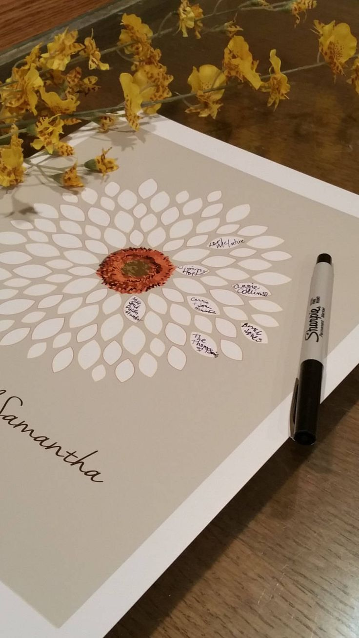 This flower wedding guestbook print is the new way to capture the moment for your wedding or anniversary party and then will make a beautiful keepsake to hang in your home. This print features a flower with the petals thinly outlined in a light yellow and burnt orange. This print features 250 signature petals and is 24x36. Colors shown: Gray Background with White lettering and Gold Center Circle Ouline Other colors available, just look at my color chart. This print will be personalized…