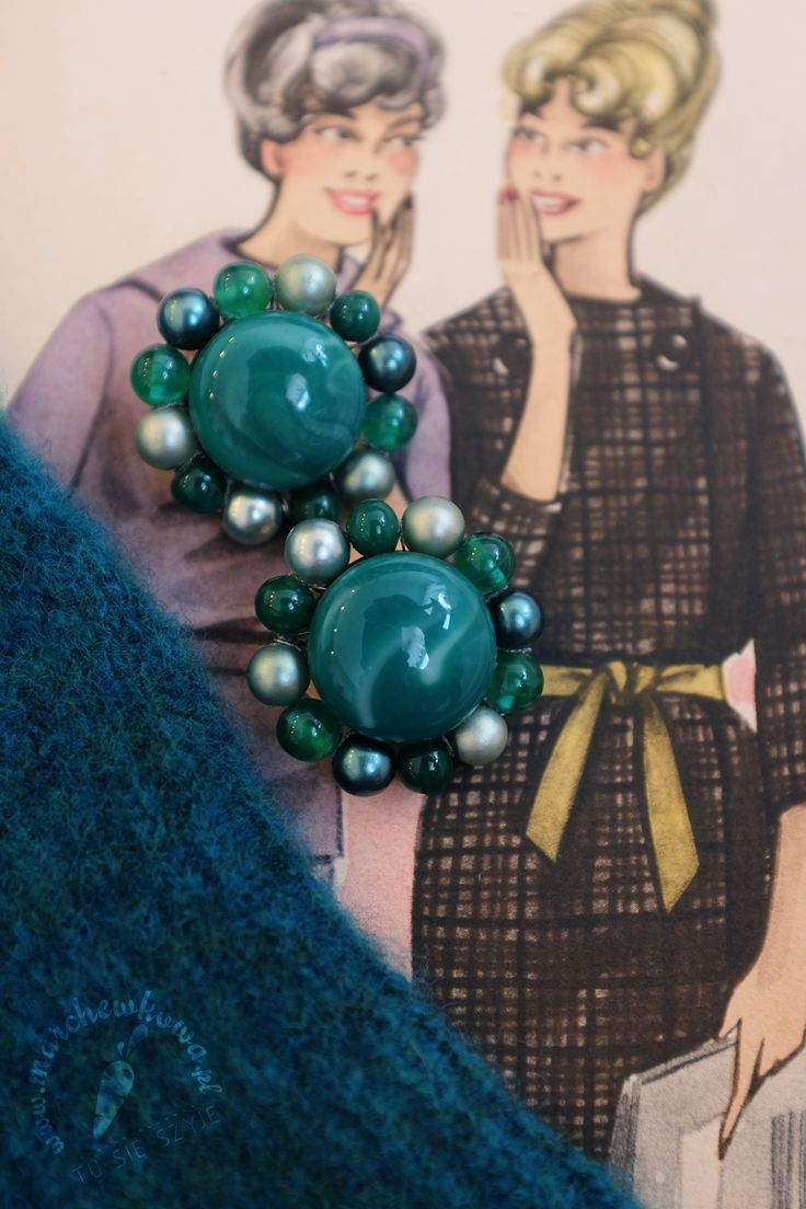 "Clip on earrings. Marked ""JAPAN"". Vintage - 1950s or 1960s. Glass beads."